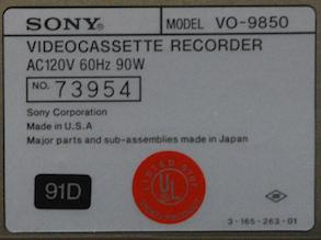 INFO-SONY VO-9850-Ser-73954